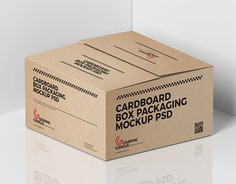 Free Cardboard Box Packaging Mockup PSD