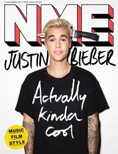 Justin Bieber NME cover magazine scribble