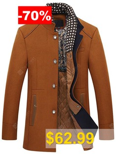 Men's #Stitching #Warm #Long #Woolen #Coat #Winter #Fashion #Slim #Stand #Collar #Outerwear #with #Detachable #Scarves #- #KHAKI