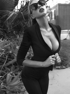 black and white glasses curves woman