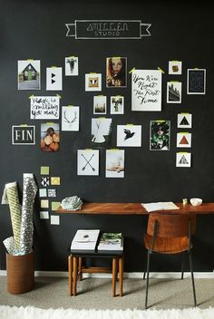 from projectmeritbadge.tumbler.com #walls #chalkboard #desk #wood