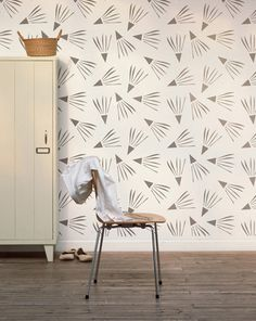 Windy Day Decorative Scandinavian Wall Stencil for DIY project, Decorative Wallpaper look and easy Home Decor #illustration #wallpaper #pattern #etsy