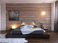 Abstract paintings in bedroom for decoration