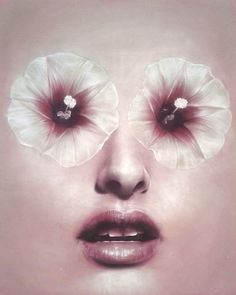 """HorrorVacui"" by Beniamino Leone #woman #petals #eyes #lips #horror #illustration #strange #painting #face #flowers"