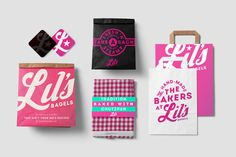 lil, bagels, breakfast, logo, pink, white, bold, star, package