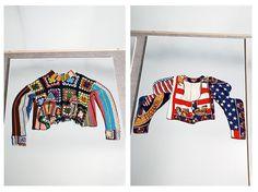#fashion Patchwork blanket top, Rachel Auburn circa 1983/4, American flag jacket Rachel Auburn circa 1988/9