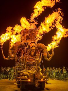 Burning Man StuckInCustoms.com #flames #sculpture #festival #burning #octopus #night #photography #fire #glow #man #illumination