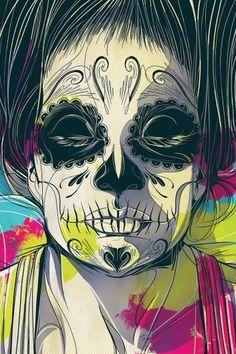 POSTAL-DDM-FRENTE_web.jpg 800×1.200 pixels #dia #los #girl #de #illustration #muertos