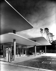 Architecture(Highway Filling Station with Floating Roof 1953 | Blue Lake, Hannover, Germany | Photo: Heinrich Heidersberge, via midcentury #architecture