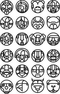 Faced Dingbat Font #illustration #will scobie