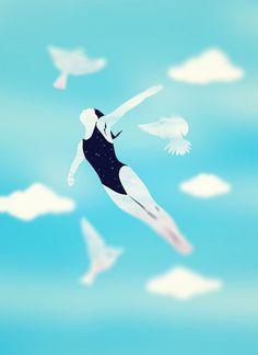. #vector #woman #birds #illustration #fly #blue