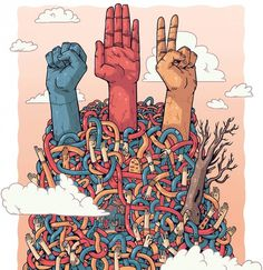 Rock-Paper-Scissors | BLDGWLF #tree #rock #design #scissors #community #illustration #hands #paper