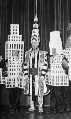 Famous architects dressed as their buildings,1931   Retronaut