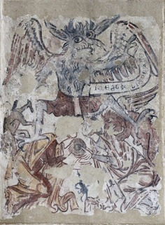 Medieval wall painting, St Michael and St Mary, Melbourne, Derbyshire - Titivillus - Wikipedia