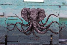 An Elephant Octopus Mural on the Streets of London by Alexis Diaz #graffiti #octopus #elephant #illustration #art #street