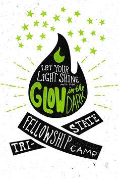 Glow_in_the_dark_camp_shirt, Joshua Redmond #typography #drawn #hand #illustration