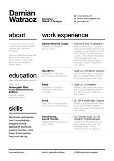 Swiss Style Resume 2014 by Damian Watracz