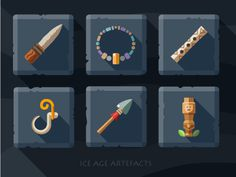 Artefacts icon set - 2 #plate #totem #boom #hook #tile #necklace #spear #flute #coat #ice #knife