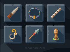 Artefacts icon set - 2 #knife #hook #coat #plate #ice #tile #necklace #boom #totem #spear #flute