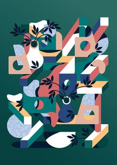 Kiblind N°45 publication on Behance #illustration #green #digital illustration #geometric