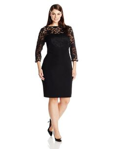 Jessica Howard Women's Plus-Size 3/4 Sleeve Lace Banded Dress #fashion #women #plus #size