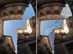 Sky Art: Thomas Lamadieu Illustrates in the Sky Between Buildings #lamadieu #sky #thomas #illustration #photography #art