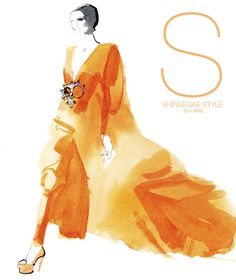 shinsegae style korea david downton #illustration #fashion #cover #magazine #watercolor #fashion illustration #david downton