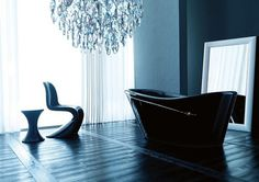 Modern black art bathtub with Swarovski crystals #artistic #bathroom #furniture #art #bathtub