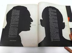 Spread in Show magazine by Henry Wolf | Flickr - Photo Sharing! #white #print #black #spread #portrait #silhouette #wolf #and #henry #magazine