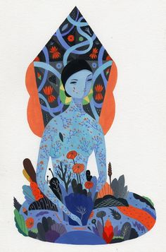 Mirror by Inca Pan, via Behance #flora #woman #illustration #nature #flowers