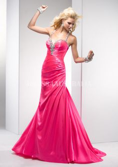 Electricpink Halter Top Mermaid Elastic Woven Satin Long Formal Dress/ Prom Dresses By FIT P4684