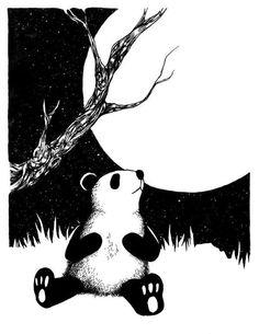 Un panda assis devant une lune