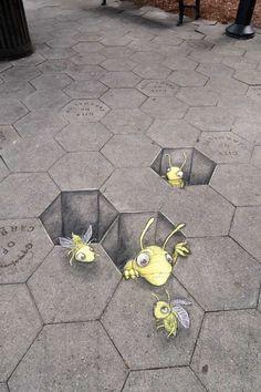 Sidewalk Chalk Drawings on the Streets of Ann Arbor by David Zinn