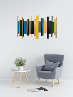 Unique Wooden Wall Art Blue and Yellow image 0