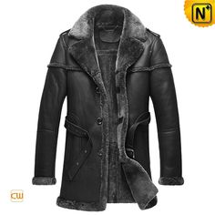 Black Sheepskin Shearling Coats for Men CW878578 #sheepskin #shearling #coats