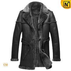 Black Sheepskin Shearling Coats for Men CW878578