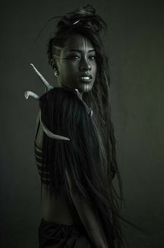 Beautiful colors #dark #darkskin #longhair #bones #green #black