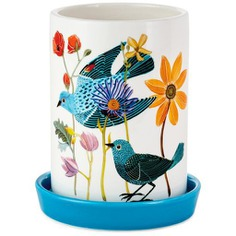 "Geninne Zlatkis Bluebirds and Blooms Ceramic Planter, 6"","