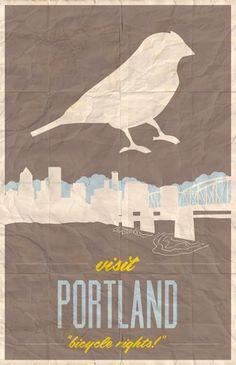 Visit Portland by Kassie Wright #wright #portland #travel #bird #poster #kassie