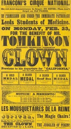 Flyer Goodness: Vintage Circus Posters and flyers from the Leeds Playbill Archive #type #circus #vintage