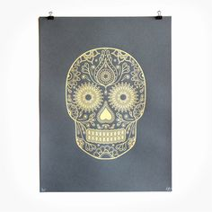 Gold Day of the Dead Screen Print Release #illustration #pattern #skull