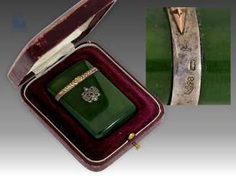 Case/box: extremely rare wooden match case is made of nephrite, silver and Gold in probably the original case, possibly FABERGÉ around 1900