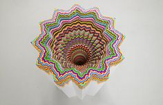 Jen stark pedestal #colourful #sculpture #radial #craft #colour #paper