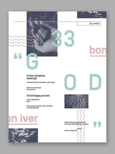 "Bon Iver '33 ""God""' Typographic Poster #type #typography #image #abstract #swiss #poster"