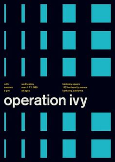 operation ivy at berkeley square, 1989 - swissted #print #design #graphic #poster