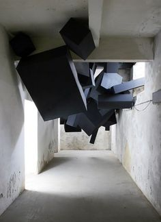 "Via Grafik // From Wall to Screen to Everythingâ""¢ #viagrafik #sculpture #cubes #via #installation #grafik #black #abandoned #building"