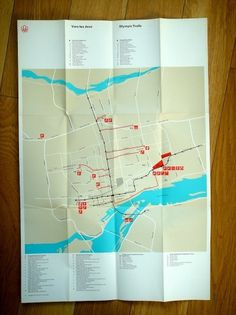 Montreal Olympics Trails Map / 1976 #print #graphic design #map #olympics #montreal #1976 #trails