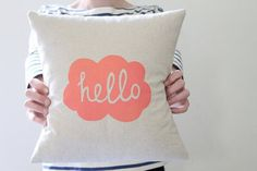 from: http://www.etsy.com/shop/hellomilky #cloud #typography #pillow #etsy #hello #hellomilky #neon