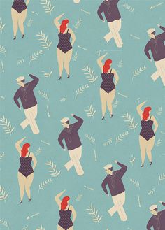 Lagom Wrapping Paper by Naomi Wilkinson #pattern #sailor #dance #illustration #blue