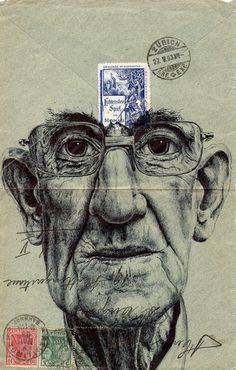 New Portraits Drawn on Vintage Envelopes by Mark Powell | Colossal #mark #design #illustration #powell #envelope #vintage